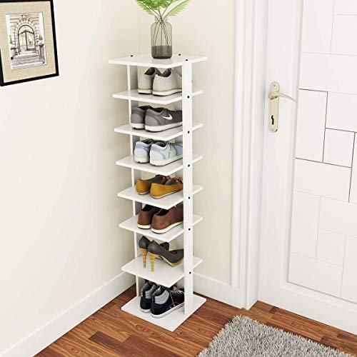 Tangkula Wooden Shoe Rack, Entryway Shoe Storage Stand