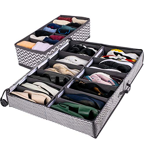 Under Bed Shoe Organizer with Included Sock Organizer